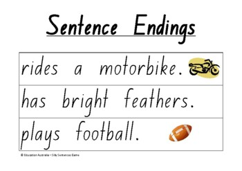 Mixed Up Sentences Game - Sentence Beginnings and Endings