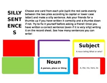 Silly Sentences Grammar and Parts of Speech Game!