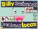 Silly Sentences, Oraciones Locas, Literacy Workstation in