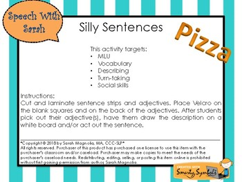 Silly Sentences- Pizza Theme