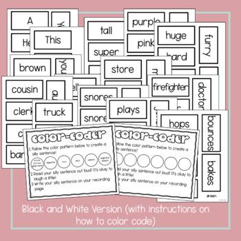 Silly Sentences! Sentence Writing Literacy Center