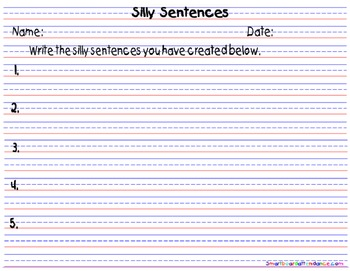 Silly Sentences Smartboard and Literacy Center