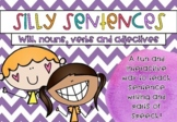 Silly Sentences - Writing Sentences with Nouns, Verbs and Adjectives