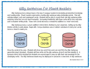 Winter Word Work - Silly Sentences for Fluent Readers