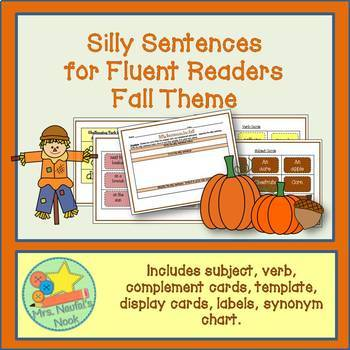 Word Work Fall Silly Sentences for Fluent Readers