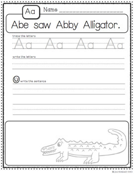 Silly Sentences for Handwriting Practice Aa-Zz grades k-2