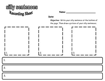 Silly Sentences for kindergarten