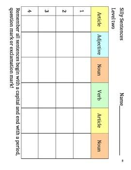 Silly Sentences plus 7 more activities Grades 1-2