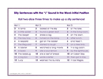 """Silly Sentences with the """"L"""" Sound"""