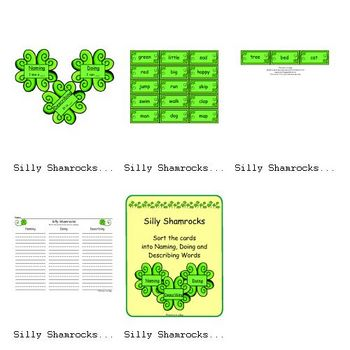 Silly Shamrocks (Naming, Doing and Describing Words)
