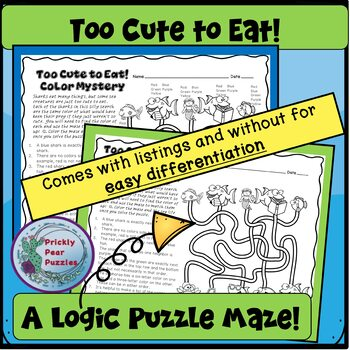 Silly Shark Logic Puzzle, Color Mystery, End of the Year Fun, Early Finishers