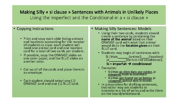 """Silly """"Si Clauses"""" using the Imparfait and the Conditionnel in French"""