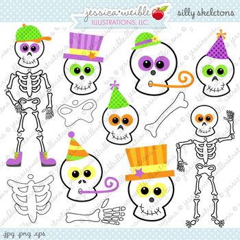 Silly Skeletons Cute Digital Clipart, Halloween Clip Art