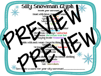 Silly Snowman Glyph: All about your Winter with Writing Activity