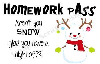 Silly Snowman - Homework Pass