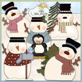 Silly Snowmen - CU Colored Clip Art