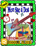 Silly Song: MY Back Pack in FRENCH-School Supplies EDITABL