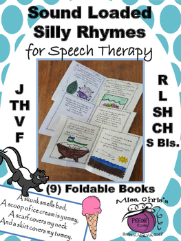Silly Sound Loaded Fold-able Books of Poems for Speech Therapy Many Sounds AWP