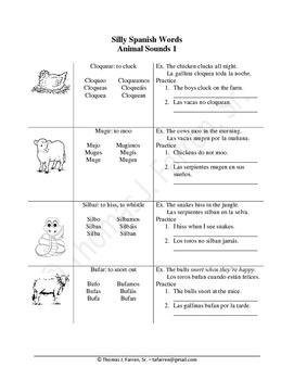 Silly Spanish Words - Animals.1