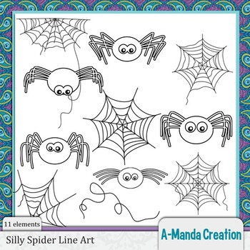 Silly Spiders Line Art and Digital Stamps
