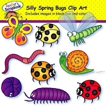Silly Spring Bugs Clip Art