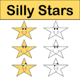 Silly Stars Clip Art Color & Black/White