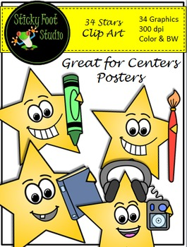 Stars Clip Art - 34 Color and BW Graphics