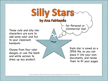 Silly Stars Clip Art - For Personal or Commercial Use