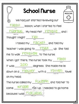 Prevocalic Vocalic R Silly Story Fill-Ins & Word Lists for Articulation