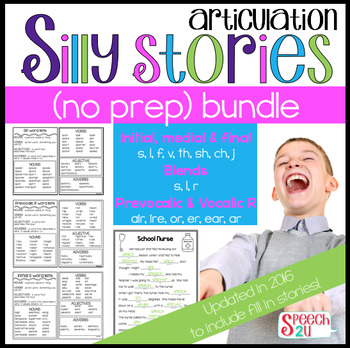 Articulation Word List: Silly Stories Bundle, Blends, Cons