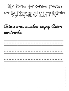 Silly Stories for Cursive Practice - A to Z