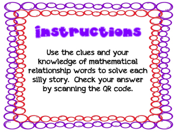 Silly Story Problems (Number relationships)
