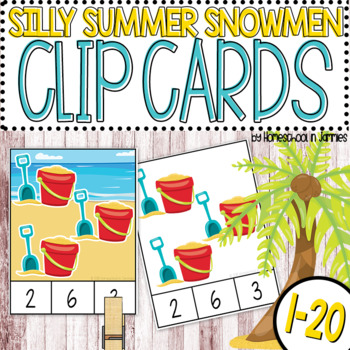 Silly Summer Snowmen 1-20 Counting Clip Cards (PreK-Kindergarten Math)