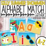Silly Summer Snowmen Alphabet Match Cards - Alphabet Game