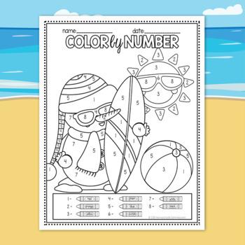 Silly Summer Snowmen Color by Number - Winter Math (Kindergarten)