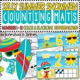 Silly Summer Snowmen Ten Frame Counting Mats - Kindergarte