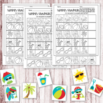 Silly Summer Snowmen Pattern Mats & Printables - Winter Math