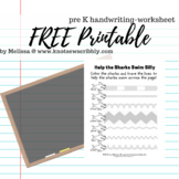 Silly Swimming Sharks - a basic handwriting / line tracing worksheet