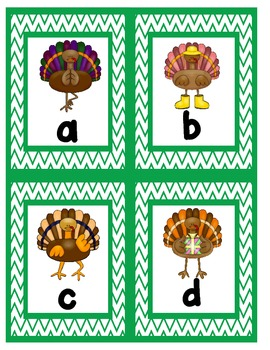 Silly Thanksgiving Turkeys Alphabet Scavenger Hunt: Upper and Lowercase Letters