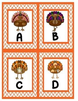 Silly Thanksgiving Turkeys Alphabet Scavenger Hunt: Upper and Lowercase Letters