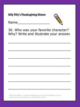 Silly Tilly's Thanksgiving Dinner Literacy Unit