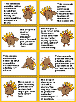 Silly Turkey Classroom Reward Coupons for November and Thanksgiving