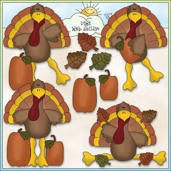 Silly Turkey Clip Art - Thanksgiving Clip Art - CU Colored Clip Art