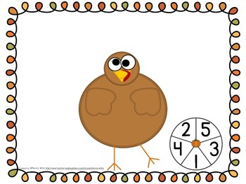 Silly Turkey...Help Me Get My Feathers Spin and Count Math Center