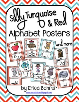 Turquoise and Red Alphabet Posters and More!
