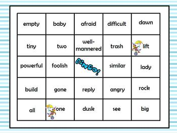 Silly Willy Synonym Bingo Games (2) with Critical Thinking
