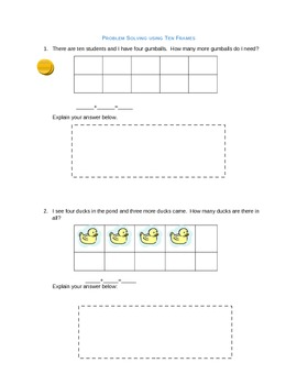 Word Problems with Ten Frames