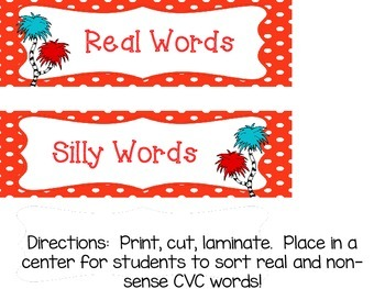 Silly Words vs Real Words CVC Sort