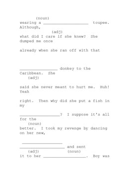 Sillylibs exercise (nouns & adjectives)