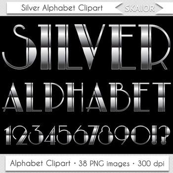 Silver Alphabet Clipart Nouveau Letters Numbers Art Deco C